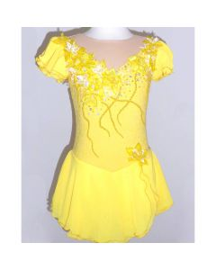 Figure/Artistic Skating Practice/Performance Dress - Yellow Floral