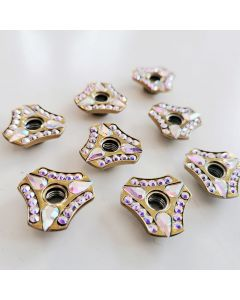 Roller Skates Self Lock Nuts Fancy Gold Triangle Indented with Raindrops