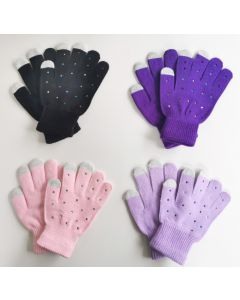 Knitted Touch Sensitive Skating Gloves with Rhinestones
