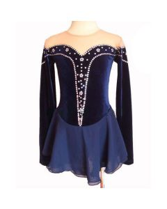 Figure/Artistic Skating Practice/Performance Navy Velvet Dress